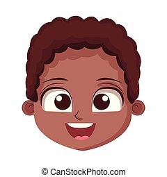 Drawing art of cute boy cartoon face vector illustration.