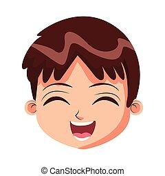 Cute boy face cartoon