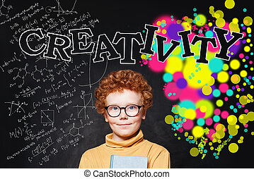 Cute boy face, creativity education concept