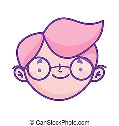 cute boy face with glasses cartoon character icon