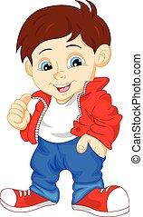 cute boy giving thumb up