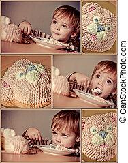 cute boy. Happy birthday. Collage