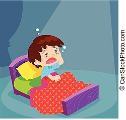 Cute boy have Sleepless - sleepless boy character on the bed...