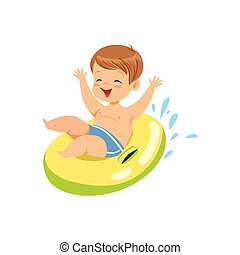 Cute boy having fun floating with lifebuoy colorful character vector Illustration