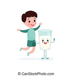 Cute boy having fun with humanized glass of milk with smiling face, healthy food for kid cartoon vector illustration