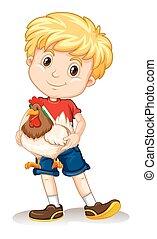 Cute boy holding a chicken