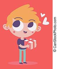 Cute Boy Holding a Present