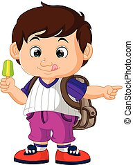 cute boy holding ice cream cartoon