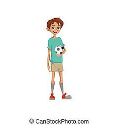 Cute boy holding soccer ball colorful cartoon vector Illustration