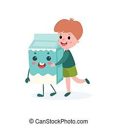 Cute boy hugging humanized cardboard box of milk, healthy food for kid cartoon vector illustration