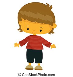 cute boy in cartoon style, isolated object on a white background, vector illustration,