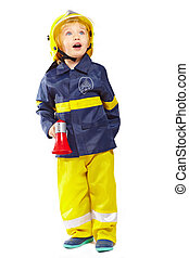Cute boy in fireman costume