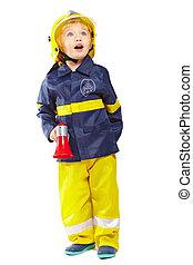 Cute boy in fireman costume
