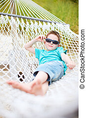 Cute boy in hammock