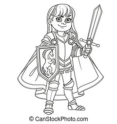 Cute boy in Knight or paladin in armor costume outlined for coloring page