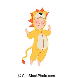 Cute Boy in Lion Costume, Happy Halloween Party Festival with Kid Trick or Treating Cartoon Vector Illustration