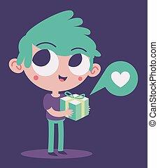 Cute Boy in Love Holding a Present