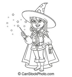 Cute boy in Magician costume outlined for coloring page
