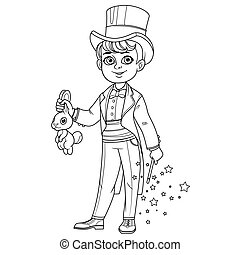 Cute boy in magician costume with a hare and magic wand outlined for coloring page
