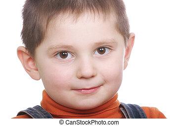 Cute boy in orange