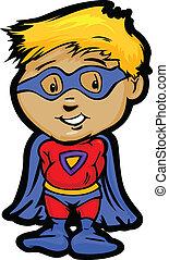 Cute Boy In Super Hero Outfit Cartoon Vector Illustration -...
