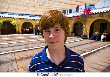 cute boy in the old Olvera mission
