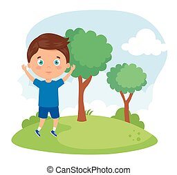 cute boy in the park nature