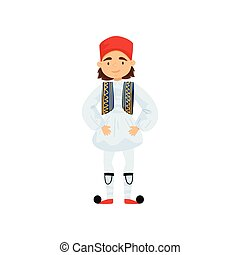 Cute boy in traditional Greek costume. Smiling kid wearing national clothes. Colorful flat vector design