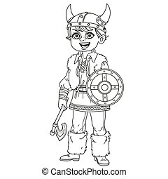 Cute boy in viking costume outlined for coloring page