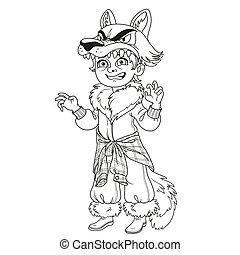 Cute boy in werewolf costume outlined for coloring page