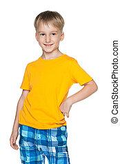 Cute boy in yellow shirt