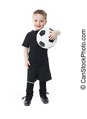 Cute boy is holding a football ball isolated on  white background. Soccer