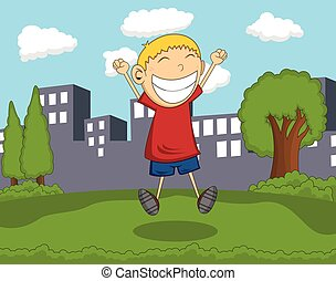 Cute boy jump in the park with city