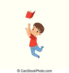 Cute boy jumping with book, kid playing and learning vector Illustration on a white background