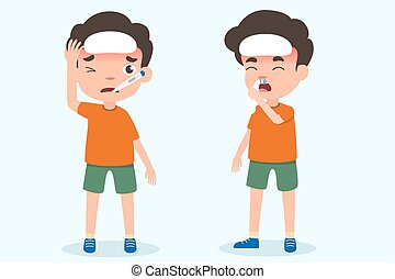 Cute boy kids having flu and fever symptoms vector. health and medical vector illustration on isolated.