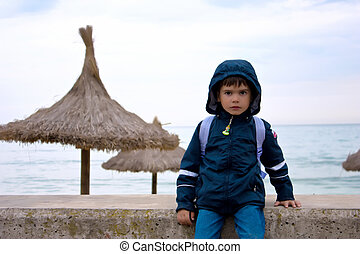 cute boy on the beach, Spain