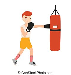 Cute boy or young boxer dressed in sportswear training with punching bag isolated on white background. Boxing workout, sports activity for children. Colorful vector illustration in flat cartoon style.