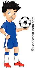 cute boy playing football. Boy holding ball
