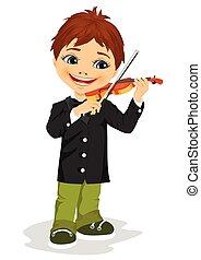 cute boy playing violin