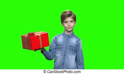 Cute boy pointing at red gift box. Green hromakey background...