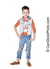 Cute boy posing isolated on white background