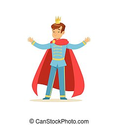 Cute boy prince in a golden crown and red cloak, fairytale costume for party or holiday vector Illustration