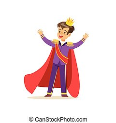 Cute boy prince in a golden crown, purple costume and red cloak, fairytale costume for party or holiday vector Illustration