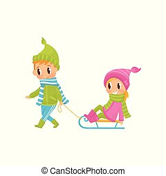 Cute boy pulling little girl on sledge. Outdoor activity. Cheerful brother and sister in warm winter outfit. Flat vector design