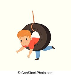 Cute boy riding swing made from tire, little kid having fun on a swing outdoor vector Illustration on a white background