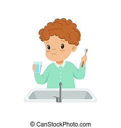 Cute boy rinsing his teeth with water, kid brushing and caring for teeth in bathroom vector Illustration on a white background