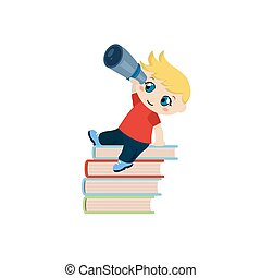 Cute boy sitting on a pile of books