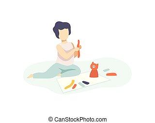 Cute Boy Sitting on Floor and Making Figures from Plasticine, Kids Creativity, Education, Development Vector Illustration