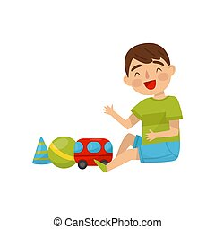 Cute boy sitting on the floor playing with toys, kids activity, daily routine vector Illustration on a white background