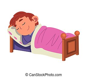 Cute Boy Sleeping in His Bed, Preschool Kid Daily Routine Activity Cartoon Vector Illustration